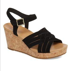 Ugg uma suede strap cork wedge sandal 9.5 NWT